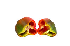 Red pepper. Two halves of red pepper on white background Royalty Free Stock Photography