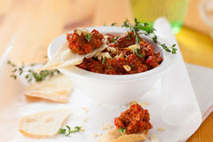 Red pepper and walnut dip Stock Images