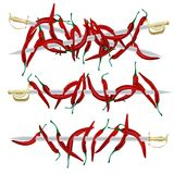 Red pepper and weapons Royalty Free Stock Image