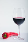 Red Pepper and wine Royalty Free Stock Photography
