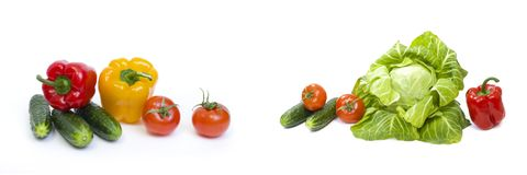 Red pepper with yellow pepper and tomatoes on white background.Vegetables in composition on a white background. Red pepper with yellow pepper and tomatoes on Stock Photos