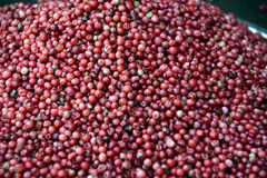 Red Peppercorns for Sale at a Middle Eastern Spice Shop. Red Peppercorns sold in bulk in an open air spice shop in Jerusalem Stock Photo