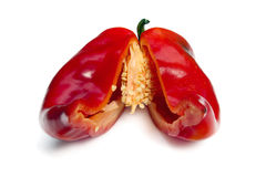 Red peppercut in half. Red pepper  isolated on white background Stock Photo