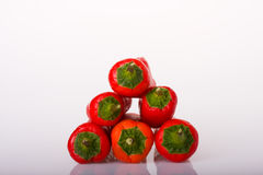 Red Peppers. Red chilli peppers in a pyramid shape royalty free stock image