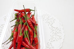 Red peppers. Basket of  some Fresh hot red peppers Royalty Free Stock Photos