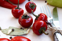 Red Peppers. Sweet little red peppers, autumn vegetable and food ingredient Royalty Free Stock Photography