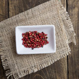 Red  peppers in ceramic bowl Royalty Free Stock Photos