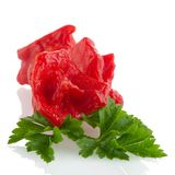 Red peppers closeup. On white background stock images