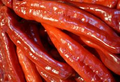 Red  peppers. Detail of fresh red peppers Stock Photography