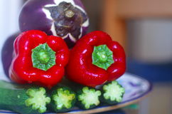 Red peppers, Eggplant and Zucchini Royalty Free Stock Photography
