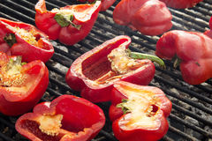 Red peppers on the Grill Stock Photo