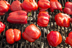 Red peppers on the Grill Royalty Free Stock Image