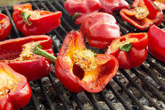 Red peppers on the Grill Royalty Free Stock Images