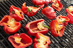 Red peppers on the Grill Stock Photos