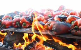 Red peppers on grill traditional Royalty Free Stock Photo