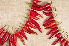 Red chilli Peppers on vintage fabric Royalty Free Stock Image