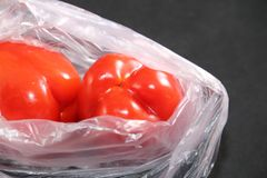 Red peppers Inside plastic bag front cover or billboard