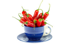 Red peppers in a mug Royalty Free Stock Photos
