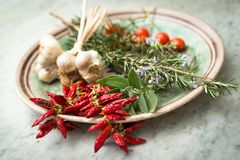 Red peppers and other mediterranean spices. Bunch of red chili peppers and other mediterranean spices and herbs Stock Photo