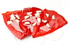 Red peppers peeled Stock Image
