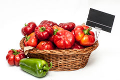 Red peppers in a shop basket Stock Image