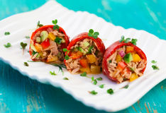 Red peppers stuffed stock photography