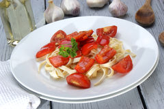 red peppers with tomato on pasta Stock Photography