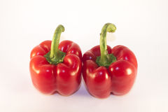 Red peppers. Two red peppers, isolated on white background Stock Images