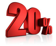Red 20 Percent. 3D rendering of 20 percent in red letters on white background Stock Photos