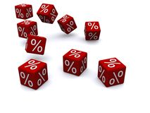 Red percent dice Stock Photo