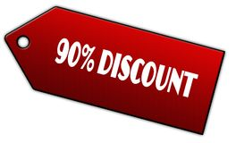 Red 90 PERCENT DISCOUNT label. Stock Photos