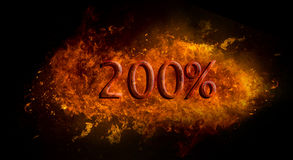 Red 200 percent % on fire flame explosion, black background stock illustration