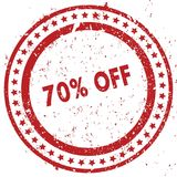 Red 70 PERCENT OFF distressed rubber stamp with grunge texture. Illustration Stock Photography