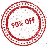 Red 90 PERCENT OFF distressed rubber stamp with grunge texture. Illustration Royalty Free Stock Photography