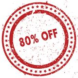 Red 80 PERCENT OFF distressed rubber stamp with grunge texture. Illustration Royalty Free Stock Photography