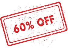 Red 60 PERCENT OFF rubber stamp. Illustration graphic image concept Royalty Free Stock Photo
