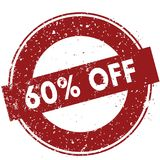 Red 60 PERCENT OFF rubber stamp illustration on white background. Image Stock Photography