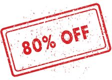 Red 80 PERCENT OFF rubber stamp. Illustration graphic image concept Royalty Free Stock Images
