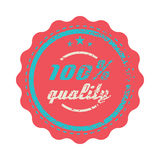 Red 100 percent quality label, vintage style Royalty Free Stock Photos