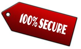 Red 100 PERCENT SECURE label. Illustration graphic design concept image Stock Photos