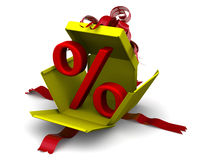 Red percent sign breaks gift box Stock Photo