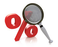 Red percent sign and magnifier. searching for discount Stock Image