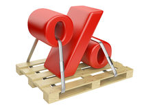 Red percent sign on the pallet Stock Image