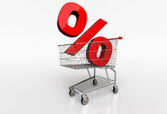Red percent sign in realistic shopping cart on white background. Stock Photos