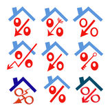 Red percent under the roof (down arrow ) Royalty Free Stock Image