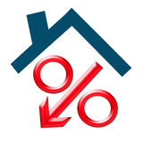 Red percent under the roof (down arrow ) hause Royalty Free Stock Photo