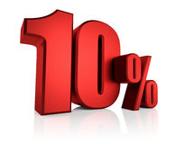 Red 10 Percent. On white background. 3d render discount Royalty Free Illustration
