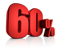 Red 60 Percent. 60 percent on white background. 3d render red discount Stock Photography