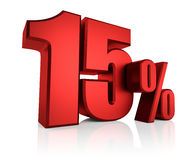 Red 15 Percent. On white background. 3d render discount stock illustration