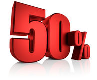 Red 50 Percent. 50 percent on white background. 3d rendering red discount Stock Photo